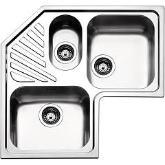 Apell Roan3ibc Corner sink 2 and a half bowls + drainer cm. 83x83 - brushed stainless steel Angolo
