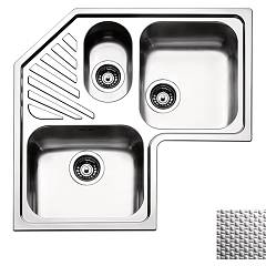 Apell Roan3iac Corner sink 2 and a half bowls + drainer cm. 83x83 - scratch-resistant stainless steel Angolo