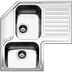 Apell Roan2b90irbc Corner sink 2 bowls + drainer right cm. 83x83 - brushed stainless steel Angolo