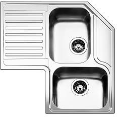 Apell Roan2b90ilbc Corner sink 2 bowls + left drainer cm. 83x83 - brushed stainless steel Angolo