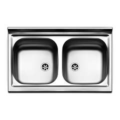 Apell Pi802pc Countertop sink 2 bowls cm. 80x50 - pre-polished stainless steel Pisa
