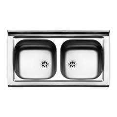Apell Pi902pc Countertop sink 2 bowls cm. 90x50 - pre-polished stainless steel Pisa