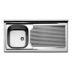 Apell Pi1001rpc Sink support 1 bowl + drainer right cm. 100x50 - pre-polished stainless steel Pisa