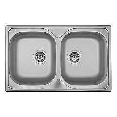 Apell Oh792ipc Semi-flush sink 2 bowls cm. 79x50 - pre-polished stainless steel Oceano