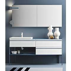 Ardeco Id 01 Bathroom composition w 174 complete with sink with drawers, spotlight mirror and magnifying mirror Industrial