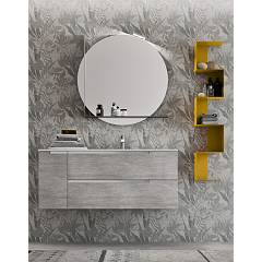 Ardeco Mo 01 Bathroom composition l 120 complete with sink with drawers, door, mirror, shelf, shelf and open wall unit Start Block