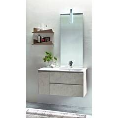 Ardeco Mo 06 Bathroom composition l 130 complete with sink with drawers, door mirror, led spotlight and shelves Start Block