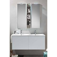 Ardeco Mo 07 Bathroom composition l 120 complete with 2 washbasins with led spotlight mirror doors and open wall unit Start Block