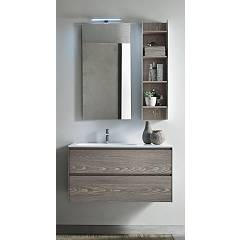 Ardeco Mo 08 Bathroom composition l 95 complete with sink with drawers, led spotlight mirror and open wall unit Start Block