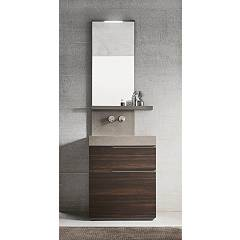 Ardeco Sl 01 Bathroom composition l 70 complete with sink with drawers, mirror shelf and led spotlight Start Line