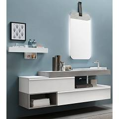 Ardeco Sl 03 Bathroom composition l 170 complete with sink with open base units, mirror and shelf Start Line