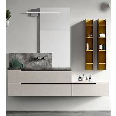 Ardeco Sl 06 Bathroom composition l 170 complete with sink with hanging drawers, mirror and lamp Start Line