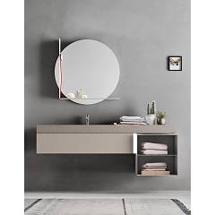 Ardeco Sl 07 Bathroom composition l 174 complete with sink with open base drawer, mirror and spotlight Start Line