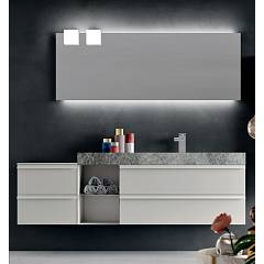 Ardeco Sl 08 Bathroom composition l 190 complete with sink with open base drawers, mirror and spotlights Start Line