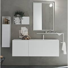 Ardeco Sl 10 Bathroom composition l 155 complete with sink with drawers, towel rack and wall units Start Line