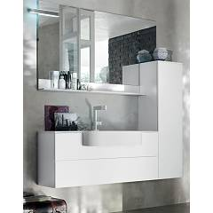 Ardeco Sl 11 Bathroom composition l 155 complete with sink with drawer column mirror shelf and spotlight Start Line