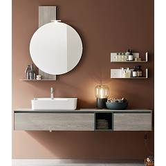 Ardeco Sp 01 Bathroom composition l 180 complete with washbasin with drawers open base mirror shelves and spotlight Start Play