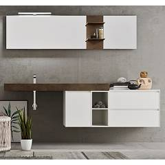 Ardeco Sp 02 Bathroom composition l 215 complete with sink with drawers, open base, hanging mirrors and spotlight Start Play
