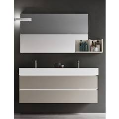 Ardeco Sp 04 Bathroom composition l 140 complete with 2 washbasins with drawers, open compartment mirror and spotlight Start Play
