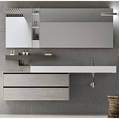 Ardeco Sp 05 Bathroom composition w 205 complete with sink with drawers, shelf, wall-mounted mirror and spotlight Start Play