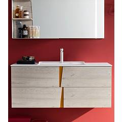 Ardeco Wr 02 Bathroom composition l 120 complete with sink with drawers, mirror with shelves and leds Wector