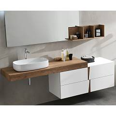 Ardeco Wr 05 Bathroom composition l 195 complete with sink with drawers, hanging mirror and spotlight Wector