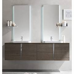 Ardeco Wr 06 Bathroom composition l 190 complete with 2 washbasins with mirror doors with leds and shelves Wector