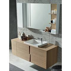 Ardeco Wr 12 Bathroom composition l 145 complete with washbasin with drawers, wall-mounted door, mirror with led and shelf Wector
