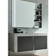 Ardeco Wr 13 Bathroom composition l 130 complete with sink with drawers, mirror with led and shelf Wector