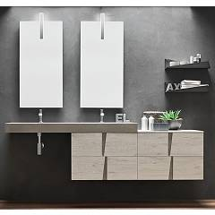 Ardeco Wr 15 Bathroom composition l 210 complete with 2 washbasins with drawers, mirrors, spotlights and shelves Wector