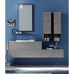 Ardeco Wi 40 Bathroom composition l 175 complete with sink with drawers, mirror with hanging spotlight and towel rail Wind