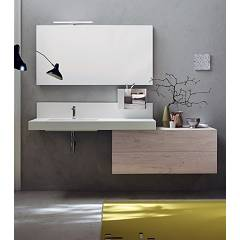 Ardeco Wi 43 Bathroom composition l 215 complete with sink with drawers, mirror, spotlight and object holder Wind