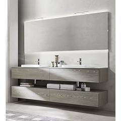 Ardeco Wi 45 Bathroom composition l 210 complete with 2 washbasins with drawers, mirror with led and spotlights Wind