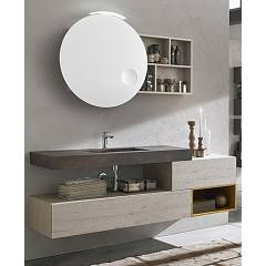 Ardeco Wi 46 Bathroom composition l 170 complete with sink with drawers, open base, mirror with compartment and spotlight Wind