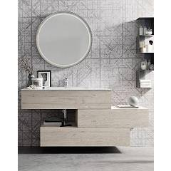 Ardeco Wi 47 Bathroom composition l 170 complete with sink with drawers, backlit mirror and wall unit Wind