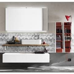 Ardeco Wi 48 Bathroom composition l 140 + 50 complete with sink with drawers, mirror with led spotlight and wall units Wind
