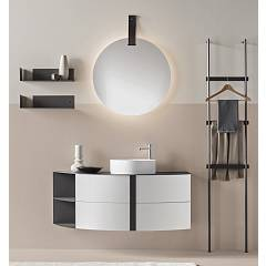 Ardeco Ro 01 Bathroom composition l 130 complete with sink with drawers, mirror, shelves and towel holder Round