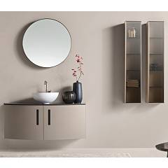 Ardeco Ro 02 Bathroom composition w 120 + 25 + 25 complete with sink with mirror doors and columns Round