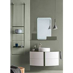 Ardeco Ro 03 Bathroom composition w 105 + 45 complete with sink with drawers, mirror with shelf and towel rail Round
