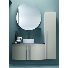 Ardeco Ro 04 Bathroom composition l 140 complete with washbasin with column doors, mirror with shelf and spotlight Round