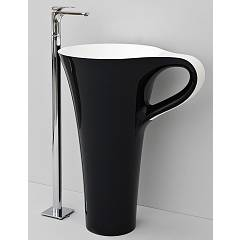 Artceram Osl004 01-50 Lavabo in support cm. 70 x 50 h 85 - white and black decoration Cup