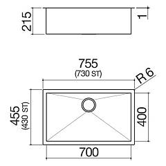 Barazza - Sink 1Q7040I, series Quadra radius 0 - technical drawing
