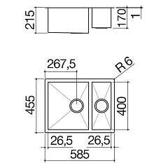 Barazza - Sink 1Q642I, series Quadra radius 0 - technical drawing