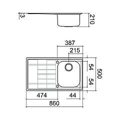 Barazza - 1LLV90 / 1S sink, B_Level series - technical drawing
