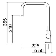 Barazza - single-lever mixer B_Level 1RUBMBLI - technical drawing