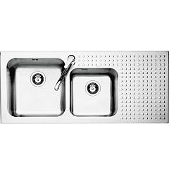 Barazza 1is12060/2d Built-in sink cm. 116 x 50 inox - 2 tanks with right drip Select