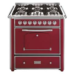 Barazza 1b90m6boim Kitchen cm. 90 bordeaux inox finishes 4 gas and 2 triple crown with handle Collezione Classica
