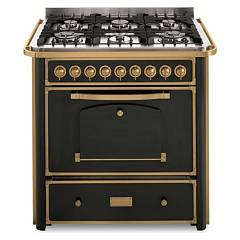 Barazza 1b90m6anom Kitchen cm. 90 anthracite finishes brass 4 gas and 2 triple crown with handle Collezione Classica