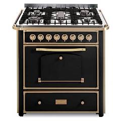 Barazza 1b90m5anom Kitchen cm. 90 anthracite finishes brass 3 gas_1 triple corona_pesciera with handle Collezione Classica