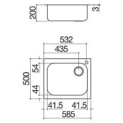 Barazza - Sink Select 1IS6060 / 1 - technical drawing